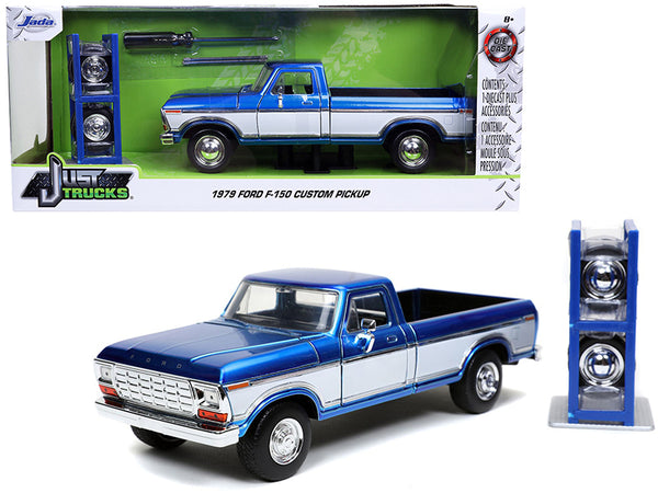 "1979 Ford F-150 Custom Pickup Truck Candy Blue and White with Extra Wheels ""Just Trucks"" Series 1/24 Diecast Model by Jada"