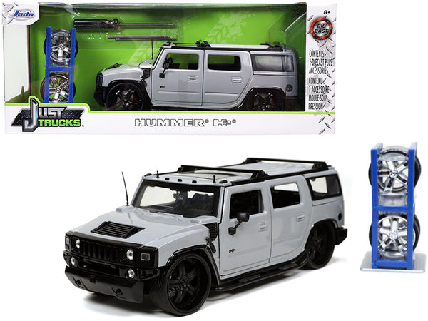 "Hummer H2 Gray with Extra Wheels ""Just Trucks"" Series 1/24 Diecast Model by Jada"
