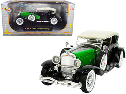1934 Duesenberg Black and Green 1/32 Diecast Model Car by Signature Models