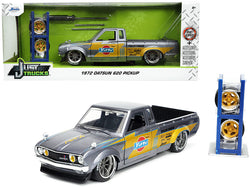 "1972 Datsun 620 Pickup Truck ""Toyo Tires"" Silver with Extra Wheels ""Just Trucks"" Series 1/24 Diecast Model by Jada"