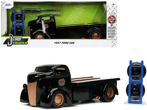 "1947 Ford COE Flatbed Tow Truck ""Ford Motor Co."" Black with Extra Wheels ""Just Trucks"" Series 1/24 Diecast Model by Jada"
