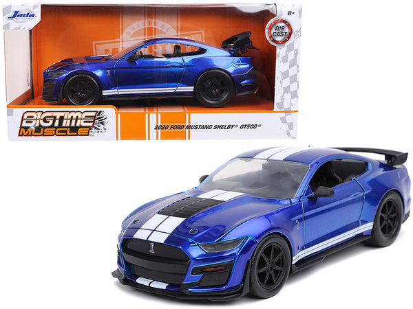 "2020 Ford Mustang Shelby GT500 Candy Blue with White Stripes ""Bigtime Muscle"" 1/24 Diecast Model Car by Jada"