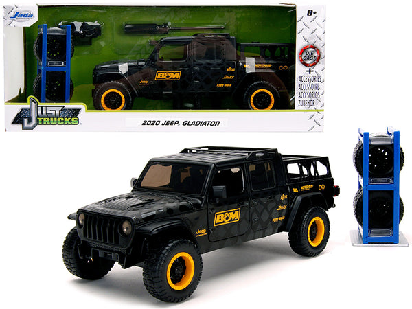 "2020 Jeep Gladiator Pickup Truck ""B&M"" Black with Graphics with Extra Wheels ""Just Trucks"" Series 1/24 Diecast Model Car by Jada"