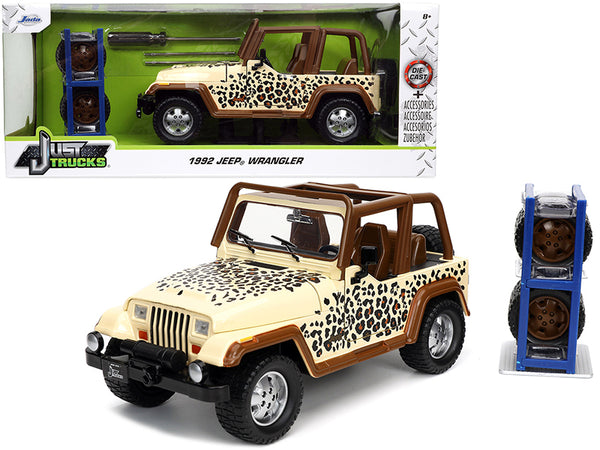 "1992 Jeep Wrangler Tan and Brown with Graphics and Extra Wheels ""Just Trucks"" Series 1/24 Diecast Model by Jada"