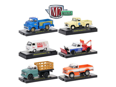 """Auto Trucks"" Release #46 (6 Piece Set) IN DISPLAY CASES 1/64 Diecast Models by M2 Machines"