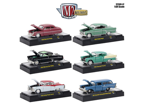 AutoThentics Release #47 (6 Car Set) IN DISPLAY CASES 1/64 Diecast Models by M2 Machines