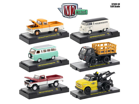 AutoThentics Release #50 (6 Car Set) IN DISPLAY CASES 1/64 Diecast Models by M2 Machines