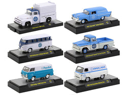 """Auto Trucks"" Release #57 (6 Vehicle Set) ""Pan American World Airways"" (Pan Am) IN DISPLAY CASES 1/64 Diecast Models by M2 Machines"