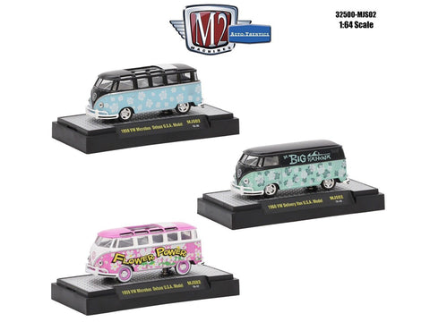 """AutoThentics"" Volkswagen USA Models (3 Car Set) WITH CASES 1/64 Diecast Models by M2 Machines"