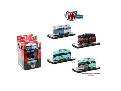 AutoThentics 1959 Volkswagen Double Cab Truck with Campers (3 Car Set) IN DISPLAY CASES 1/64 Diecast Models by M2 Machines