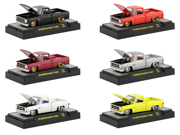 Auto Trucks (6 Piece Set) of 1976 GMC Custom Trans Am with Hood Birds IN DISPLAY CASES 1/64 Diecast Models by M2 Machines