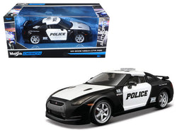 2009 Nissan GT-R (R35) Black and White Police Car 1/24 Diecast Model by Maisto