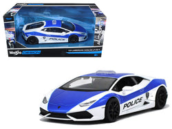 Lamborghini Huracan LP610-4 Police White and Blue 1/24 Diecast Model Car by Maisto