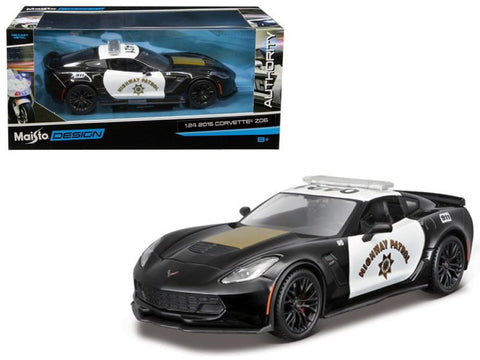 2015 Chevrolet Corvette C7 Z06 Highway Patrol Police Car 1/24 Diecast Model Car by Maisto