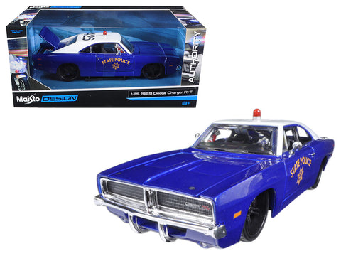 1969 Dodge Charger R/T State Police Car Blue 1/25 Diecast Model Car by Maisto