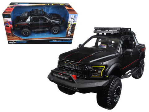 "2017 Ford F-150 Raptor Pickup Truck Matte Black ""Off Road Kings"" 1/24 Diecast Model by Maisto"