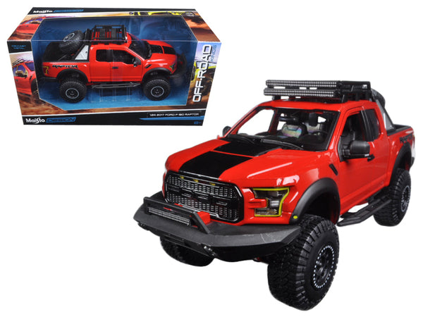 "2017 Ford F-150 Raptor Pickup Truck Red ""Off Road Kings"" 1/24 Diecast Model by Maisto"