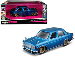 "1971 Datsun 510 Matte Candy Blue with Gold Wheels ""Tokyo Mod"" Design 1/24 Diecast Model Car by Maisto"