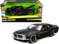 "1970 Ford Mustang Boss 302 Black with Matte Black Stripes ""Classic Muscle"" 1/24 Diecast Model Car by Maisto"