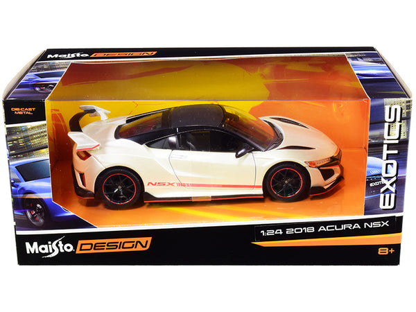 "2018 Acura NSX Pearl White with Carbon Top ""Exotics"" 1/24 Diecast Model Car by Maisto"