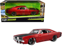 "1969 Dodge Charger R/T Red Metallic with Black Hood and Black Stripes ""Classic Muscle"" 1/25 Diecast Model Car by Maisto"
