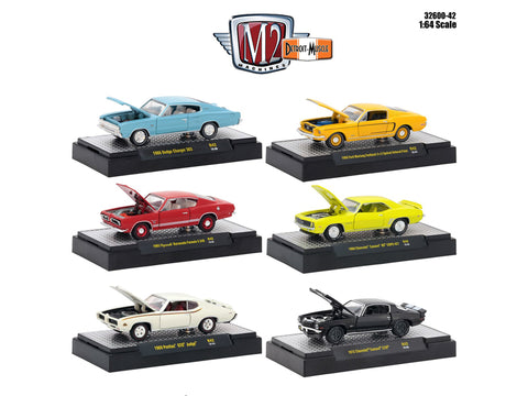 """Detroit Muscle"" Release #42 (6 Car Set) IN DISPLAY CASES 1/64 Diecast Models by M2 Machines"