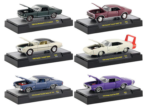 """Detroit Muscle"" Release #43 (6 Car Set) IN DISPLAY CASES 1/64 Diecast Models by M2 Machines"