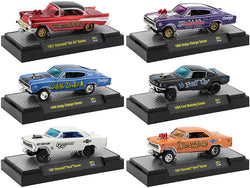 """Gassers"" Release #51 (6 Car Set) IN DISPLAY CASES 1/64 Diecast Model Cars by M2 Machines"