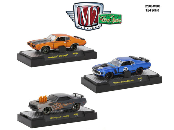 Wild Cards Release #5 (3 Car Set) WITH CASES 1/64 Diecast Models by M2 Machines
