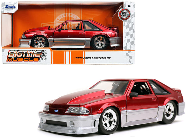 "1989 Ford Mustang GT 5.0 Candy Red and Silver ""Bigtime Muscle"" 1/24 Diecast Model Car by Jada"