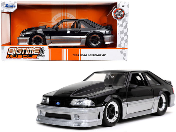 "1989 Ford Mustang GT 5.0 Black and Silver ""Bigtime Muscle"" 1/24 Diecast Model Car by Jada"