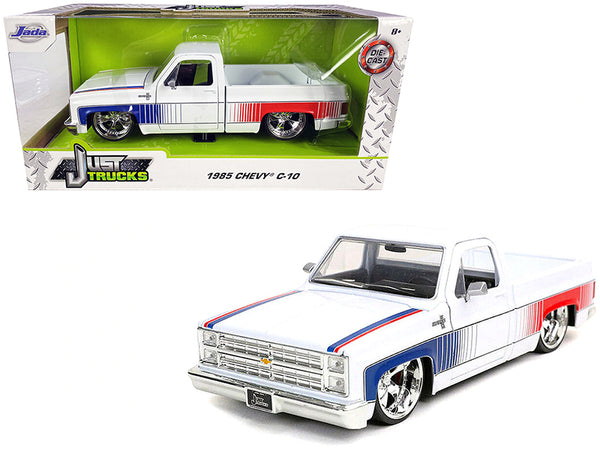 "1985 Chevrolet Silverado C-10 Pickup Truck with Custom Cartelli Wheels White with Blue and Red Graphics ""Just Trucks"" 1/24 Diecast Model by Jada"