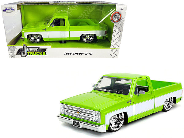 "1985 Chevrolet Silverado C-10 Pickup Truck with Custom Sugar C. Wheels Bright Green with White Sides ""Just Trucks"" 1/24 Diecast Model by Jada"