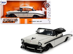 "1956 Chevrolet Bel Air Gray and White ""Bigtime Muscle"" 1/24 Diecast Model Car by Jada"