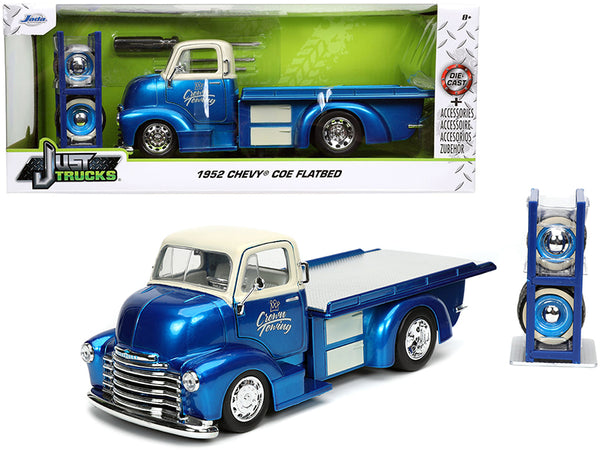 "1952 Chevrolet COE Flatbed Tow Truck ""Crown Towing"" Candy Blue and Cream with Extra Wheels ""Just Trucks"" Series 1/24 Diecast Model by Jada"