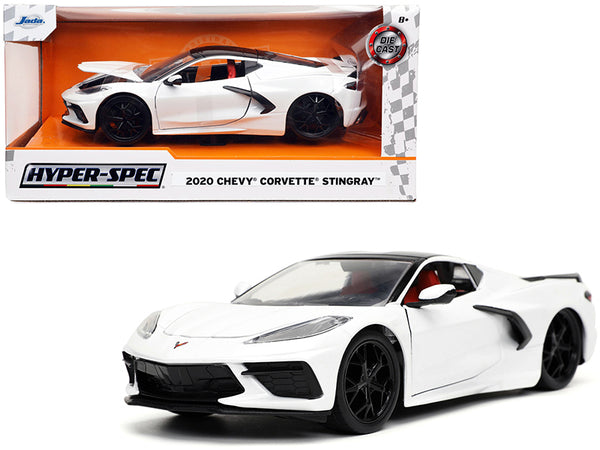 "2020 Chevrolet Corvette Stingray C8 White with Black Top ""Hyper-Spec"" Series 1/24 Diecast Model Car by Jada"