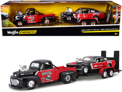 "1948 Ford F-1 Pickup Truck #48 with 1967 Ford Mustang GT and Flatbed Trailer ""Pony Up"" Red and Black (3 Piece Set) ""Elite Transport"" Series 1/24 Diecast Models by Maisto"