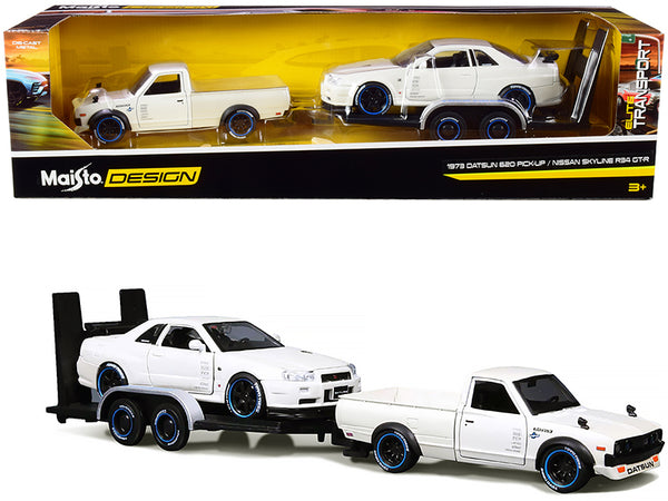 "1973 Datsun 620 Pickup Truck White Metallic with Nissan Skyline R34 GT-R White Metallic and Flatbed Trailer (3 Piece Set) ""Elite Transport"" Series 1/24 Diecast Models by Maisto"