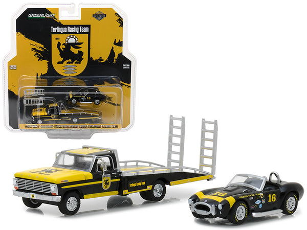 "1969 Ford F-350 Ramp Truck with Shelby Cobra Terlingua Racing Team #16 ""HD Trucks"" Series #11 1/64 Diecast Models by Greenlight"
