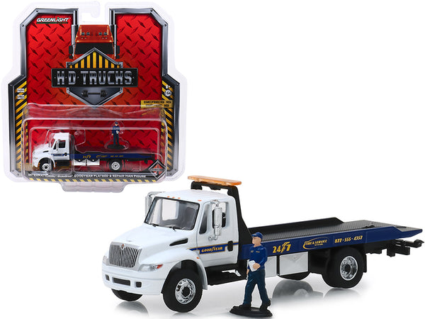 "International Durastar Flatbed ""Goodyear Roadside Service"" with Repair Man Figure ""H.D. Trucks"" Series #16 1/64 Diecast Model by Greenlight"