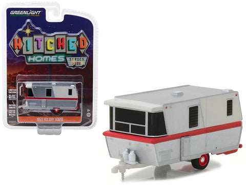 "1959 Holiday House Travel Trailer Silver with Red Stripe ""Hitched Homes"" Series #4 1/64 Diecast Model by Greenlight"