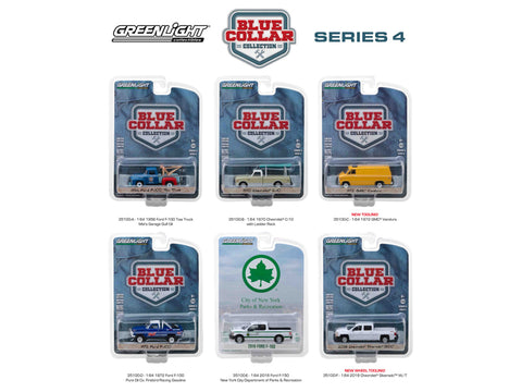 """Blue Collar Collection"" Series #4 (6 Piece Set) 1/64 Diecast Models by Greenlight"