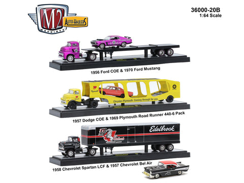 """Auto Haulers"" Release #20B (3 Truck Set) 1/64 Diecast Models by M2 Machines"