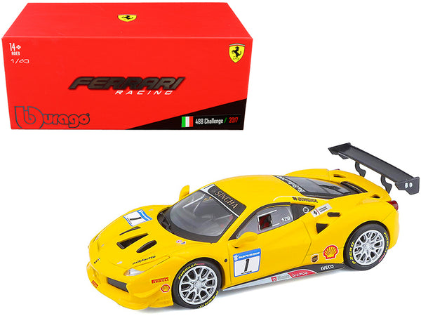 2017 Ferrari 488 Challenge #1 Yellow 1/43 Diecast Model Car by Bburago