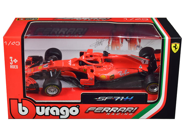 Ferrari Racing SF71H #7 Kimi Raikkonen F1 Formula One Car 1/43 Diecast Model Car by Bburago