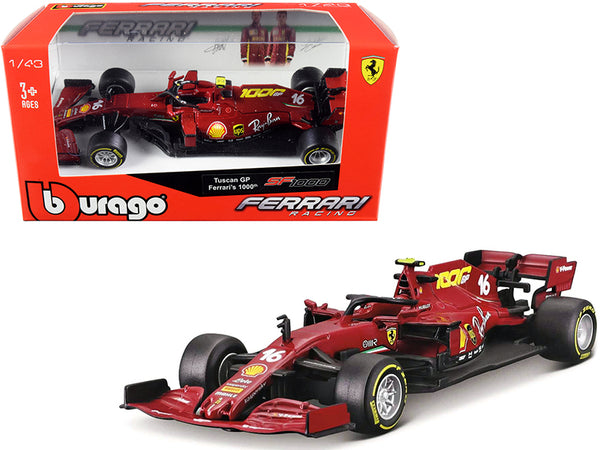 "Ferrari SF1000 #16 Charles Leclerc Tuscan GP Formula One F1 (2020) ""Ferrari's 1000th Race"" 1/43 Diecast Model Car by Bburago"