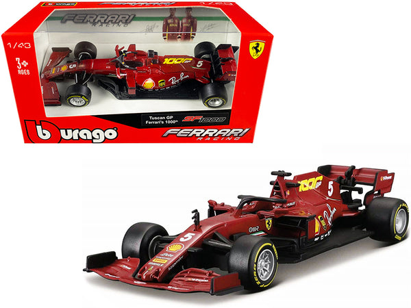 "Ferrari SF1000 #5 Sebastian Vettel Tuscan GP Formula One F1 (2020) ""Ferrari's 1,000th Race"" 1/43 Diecast Model Car by Bburago"