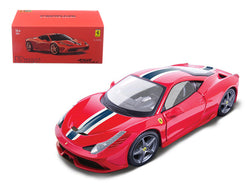"Ferrari 458 Speciale Red with White and Blue Stripes ""Signature Series"" 1/43 Diecast Model Car by Bburago"