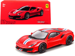 "Ferrari 488 Pista Red with White and Blue Stripes ""Signature Series"" 1/43 Diecast Model Car by Bburago"