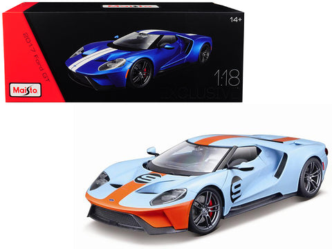 "2017 Ford GT #9 Light Blue with Orange Stripe ""Exclusive Edition"" 1/18 Diecast Model Car by Maisto"